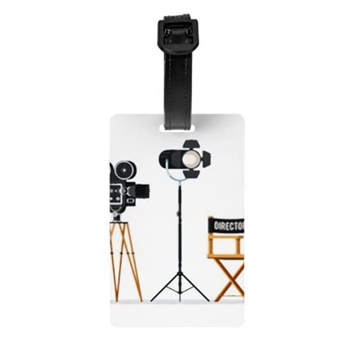Juego de 2 etiquetas para equipaje, silla de director, cámara de cine, carretes de película, tarjetas de identificación de equipaje, con correa de muñeca desmontable y tarjeta de dirección para bolsa