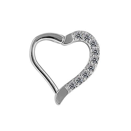 AZARIO LONDON Micro Setting CZ Stone Heart Cartilage Clicker Closure Cartilage Daith,Helix,Tragus Piercing Ring
