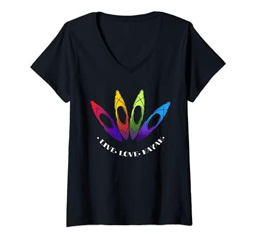 Mujer Diseño de regalo en kayak al aire libre con texto 'I Love To Kayak Camiseta Cuello V