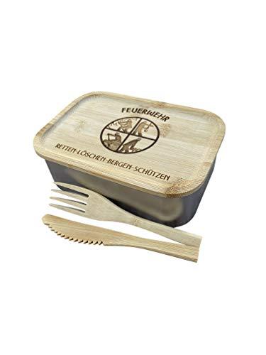 Edelstahl Lunchbox mit Holzdeckel, Besteck, Gummidichtung und Gravur - Jausendose Jausenbox Vesperdose Frühstücksbox Brotdose Brotzeidose (Feuerwehr)