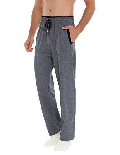 Akalnny Hommes Jogging Pantalon de Sport Élastique Casual Survêtement Coton Slim Sport Fitness Bas de Pyjama Long Taille élastique,L,Gris