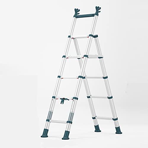 Scala Telescopica In Lega Di Alluminio, Sollevamento Addensare Le Piccole Scale Per Le Scale Domestiche 6 Gradini Scaletta Pesante Con Passi Pieghevoli Mat Antiscivolo Scal(Size:48*112*134CM,Color:#3)