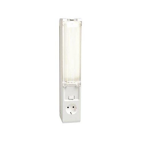 Stego 02500.0-14 model KL 025 compacte fluorescentielamp, Duitsland/Rusland, stopcontact, afdekking, magneet, 355 mm hoogte x 65 mm breedte x 70 mm lengte, 11 W, 16 A, 230 VAC, 50 Hz
