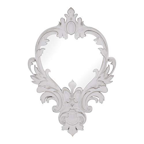 habeig Deko - Spiegel Forte Weiss Wandspiegel Antikdesign Barock Garderobenspiegel Landhaus 70cm hoch (Tropfen #413)