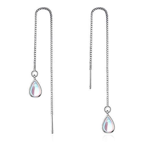 Pendientes colgantes de lágrima de piedra lunar multicolor para mujeres/niñas con cadena de plata
