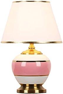 SHPEHP Lampe de Table Asiatique en céramique Bleu Rose, Style rétro, pour Chambre à Coucher, Salon ou Bureau, Table Basse ...