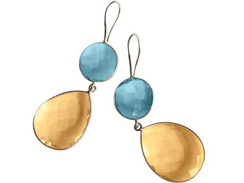 Gemshine Damen Ohrringe gold gelbe Citrin und Blautopas Quarz Tropfen. 925 Silber oder vergoldete Ohrhänger. Nachhaltiger, qualitätsvoller Schmuck Made in Spain, Metall Farbe:Silber