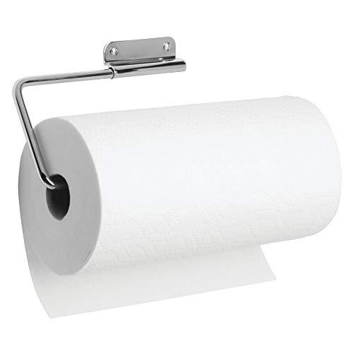 iDesign Küchenrollenhalter, Papierrollenhalter aus Metall für 1 Rolle Küchenkrepp, schwenkbarer Wandrollenhalter für die Küche, silberfarben