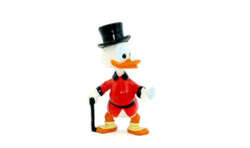 Kinder Überraschung Dagobert Duck Figur mit Zylinder und Taler in der Hand, aus der Serie Donalds Flotte Familie
