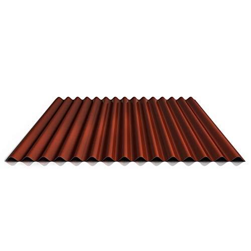Wellblech   Profilblech   Wandblech   Profil PS18/1064CW   Material Stahl   Stärke 0,63 mm   Beschichtung 25 µm   Farbe Rotbraun