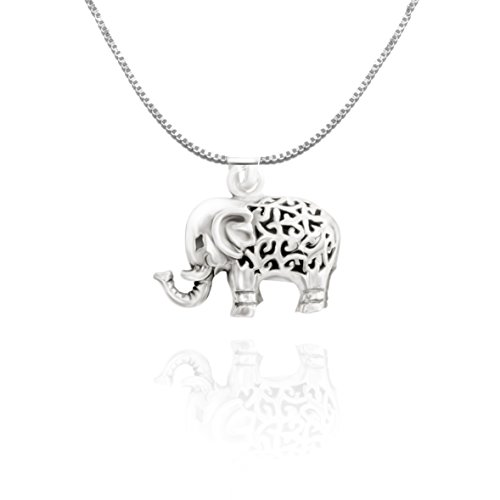 URBAN SHe° Sterling Silver 3D Lucky Elephant Necklace Pendant Spiritual Jewellery