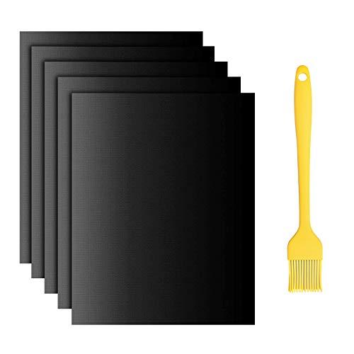 Alfombrilla para barbacoa, antiadherente, 40 x 33 cm, para hornear carbón vegetal, accesorios resistentes al calor, papel de horno reutilizable para carbón vegetal(juego de 5)