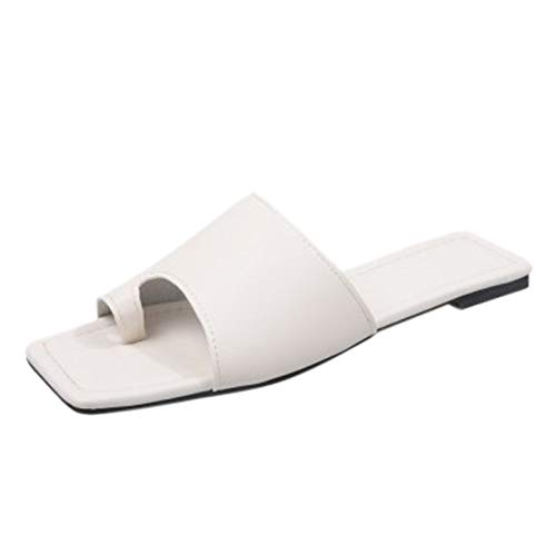 Xmiral Damen Flip-Flop Pantoffeln Strand Römische Sandalen Einfarbig Quadratischer Zeh Hausschuhe(38,Weiß)