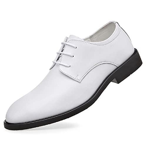 Zapatos De Cuero Zapatos De Vestir De Negocios Para Hombres Zapatos De Boda Con Cordones Zapatos Formales Informales Para Hombres Zapatos Conducción Transpirables Gran Tamaño Para Caminar,White-43
