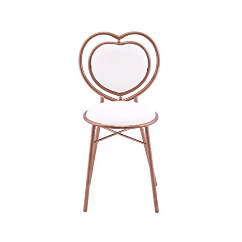 YUiiTI Hartvormige stoel, creatieve ijzer-eetstoel, gouden stoel, tafelstoel, meisjes-kamer-decoratieve stoel, 37 x 80 cm.