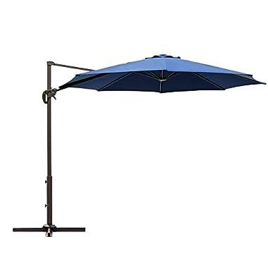 Le Papillon 10 ft Cantilever Umbrella Outdoor Offset Patio Umbrella Easy Open Lift 360 Degree Rotation, Dark Blue