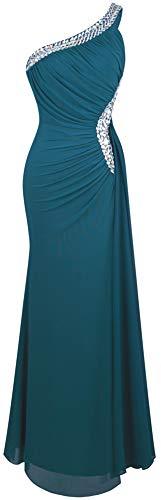 Angel-fashions Mujer Un Hombro Vestido de Noche Plisado Xxlarge Verde Oscuro