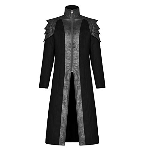 Sannysis Herren Steampunk Jacke Mantel Stehkragen Gothic Kleidung Mittelalter Kostüm Praty Outwear Blazer Vintage Long Coat Karneval Klamotten Frack Smoking Gehrock Trenchcoat