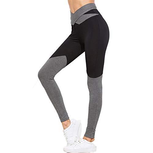 Surfiiiy - Pantalón de yoga para mujer, mallas de moda, bicolor, para yoga, cintura alta con cordones Negro S
