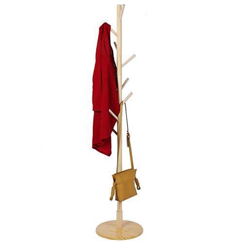 Perchero de madera Perchero de pie en el piso Perchero de madera Perchero de entrada independiente Perchero de árbol Abrigo de árbol Muebles para el hogar Ropa con perchero base redonda(Color natural)