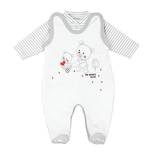 TupTam Estampado Pelele y Traje para Bebé, Set de 2 Piezas, Rayas Gris/Oso Corazones, 74