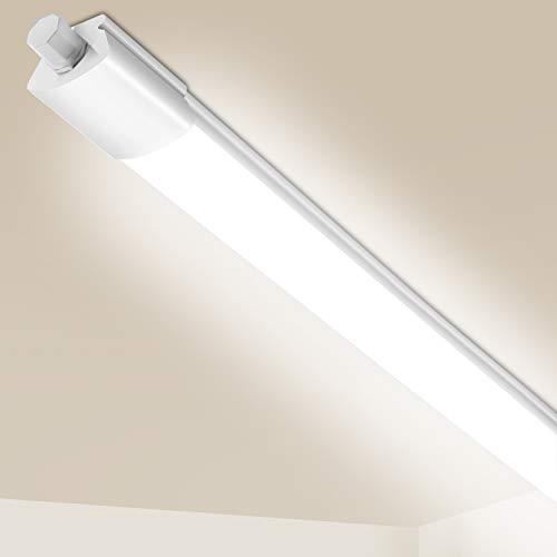 LED Feuchtraumleuchte 120cm Reihenschaltung, Flimmerfrei IP65 Wasserdichte Feuchtraum LED Als Bürodeckenleuchte, Werkstattleuchte, Wannenleuchte, Kellerleuchte, Garagelampe, 4000K