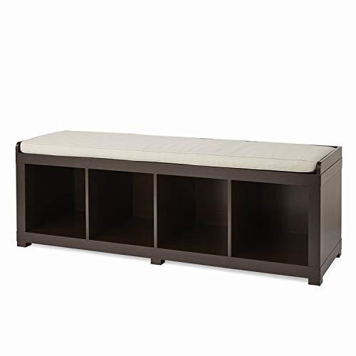 Better Homes and Gardens Storage Organizer Bench, 4-Cube, Espresso