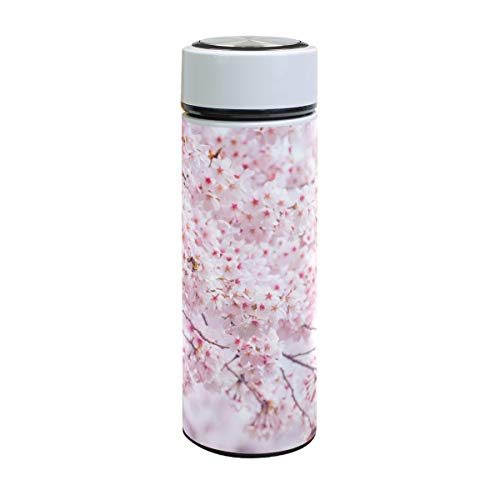 ISAOA Botella de Agua al vacío, 500 ml, 12 Horas caliente/24 Horas frío, Flor de Cerezo Rosa Sakura Acero Inoxidable Botellas para Deportes al Aire Libre