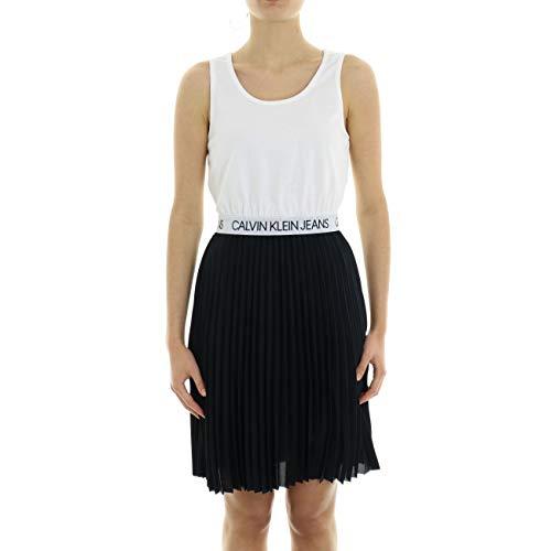 Calvin Klein Jeans Damen Logo Elastic Pleated Tank Dress Kleid, Schwarz (CK Black BAE), 38 (Herstellergröße: Large)