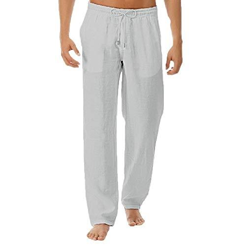 nobrand Herren Sommer-Hose, Natur-Baumwoll-Leinen, elastischer Taille, gerade, Herrenhose, Weiß Gr. 36-41, 1