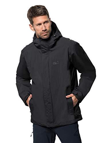 Jack Wolfskin Men's Iceland 3-IN-1 Waterproof Insulated Jacket, Black, Large