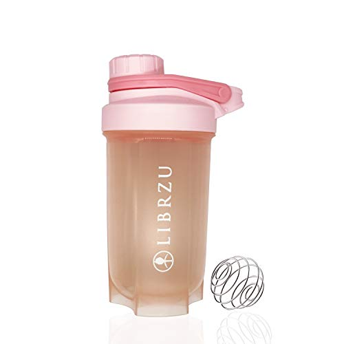 unspecific LIBRZU Protein Shaker Bottles for Sports,(2020 Model) Plastic Wide Mouth Gyms Sports Shaker Cup with Mixer (Light Pink)