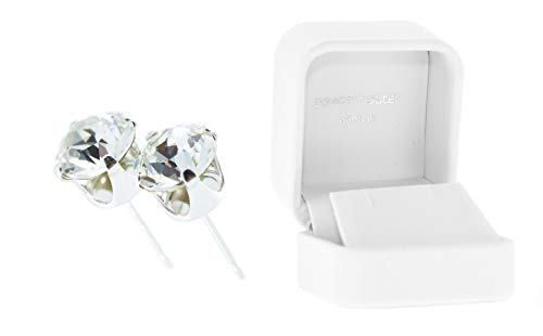 pewterhooter Sterling Silver stud earrings for women made with sparkling Diamond White crystal from Swarovski. Luxury White gift box. Made in London, England.