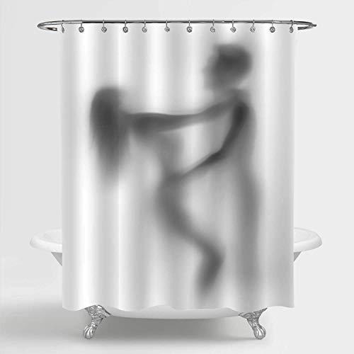 Aliyz Mysterious Shadow Sexy Paar Liebhaber Duschvorhang, Waschbarer Stoff Stoff Romantisches Badezimmer Dekor Set mit Haken, 50 B x 78 L Zoll, Grau