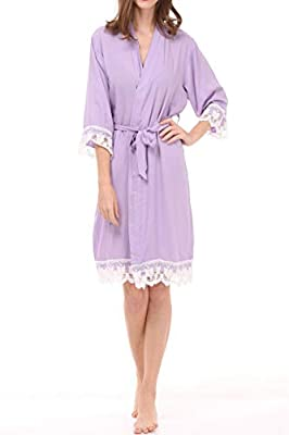 ALLINLOVER Women's Cotton Kimono Robe Soft Breathable for Bride and Bridesmaids with Lace Trim