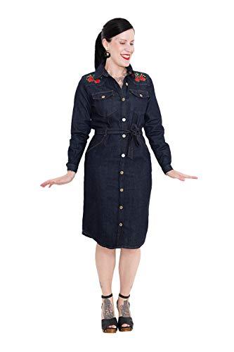 Queen Kerosin Damen Denim Kleid Mit Western Stickereien Langarm Hemdblusenkleid Bequem Clean Eckige 1 Knopf Manschette Western