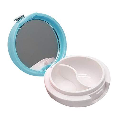 dailymall Pot Cosmétique Vides Récipient Cosmétique Vide en Verre Portable pour Visage Lotion Crème Poudres Onguent avec Miroir Portable - Bleu