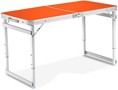Gflyme Tisch im Freien beweglichen Klapptisch aus Aluminium Picknick Camping Tabelle Heim Einfacher Desk (Farbe Orange), Grün (Color : Orange)
