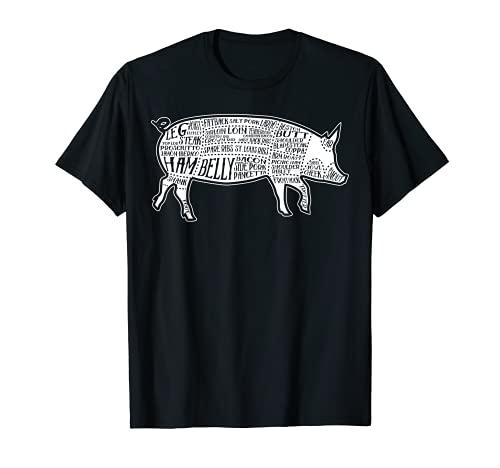 Manteca corta imagen porcino partes diagrama ilustracin carnicero impresin Camiseta