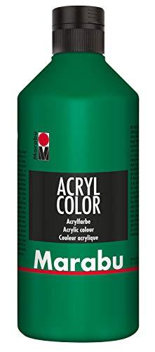Marabu 12010075067 - Acryl Color saftgrün 500 ml, cremige Acrylfarbe auf Wasserbasis, schnell trocknend, lichtecht, wasserfest, zum Auftragen mit Pinsel und Schwamm auf Leinwand, Papier und Holz