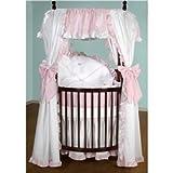 BabyDoll Darling Drapes Round Crib Bedding Set, Pink Gingham