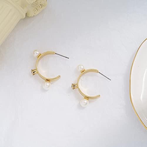 DFDLNL Pendientes de aro Pendientes de aro de Perno Prisionero de Oro Pendiente de aro de Perlas Pendientes de aro de círculo Dorado para Mujeres y niñas