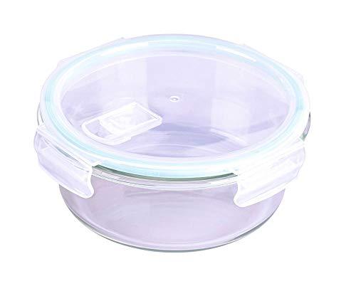 Steuber Cloc - Recipiente hermético (cristal, redondo, con tapa para microondas), Vidrio borosilicato, 0,4 L