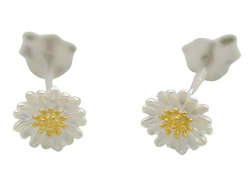 Shabana - Pendientes de flores de margaritas de plata 925 – Idea regalo para niña – Joya original