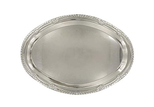 Oval Silver Nickel-Plated Serving Trays. Banquet Silver Wedding Dinner Party Platter. Charging Plates. Metal Banquet Serving Tray. Hors D'oeuvres and Desserts Tray. (9x12)