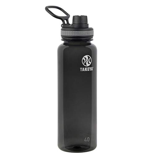 Takeya 50280 Tritan Sports Water Bottle with Spout Lid, 40 oz, Black
