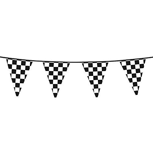 Boland 44750 - Wimpelkette Racing, Länge 600 cm, Schwarz-Weiß, Fahnenkette, Girlande, Hängedekoration, Karneval, Mottoparty, Geburtstag, Kindergarten, Formel 1