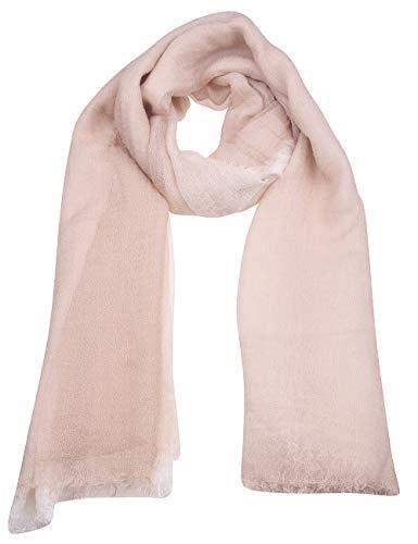 Leslii Damen-Schal Uni-Schal Farbverlauf leichter Sommer-Schal Classic langer Schal Statement-Schal in Woll-Weiß Beige