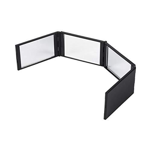TRI Rundum-Spiegel, Spiegel mit Panorama-Blick, klappbarer Schminkspiegel Frisörspiegel, Vierteiliger Spiegel, 13 x 7 x 2,5 cm