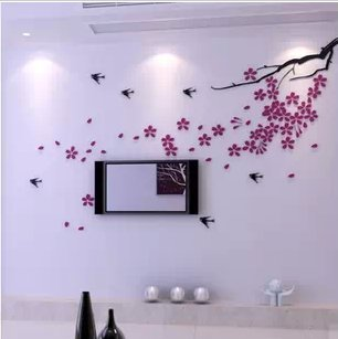 AungAoo 3D Acryl Driedimensionale Muurstickers Woonkamer Slaapkamer Tv Achtergrond Wanddecoratie Home Meubelen, Zwarte Tak Donker Paars Bloem Rechts Versie, Klein